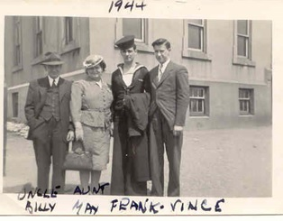 Photo courtesy of Gerry Madigan, family archives showing Willy and May Madigan (grandparents), Frank Madigan (uncle), and Vincent Madigan (father), dated 1944.